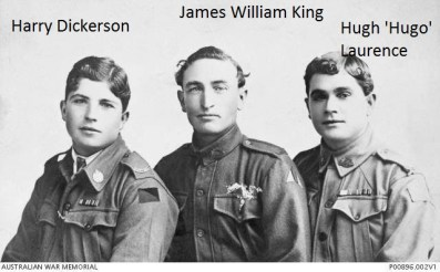 Hugh Laurence and his two uncles Harry Dickerson and James William King.