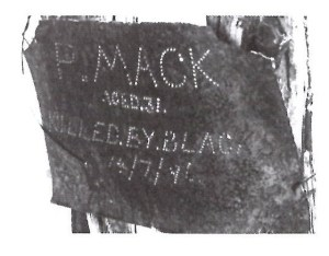 Phil Mack's Grave marker at Deadman's Soak Photo by Geoff Smith