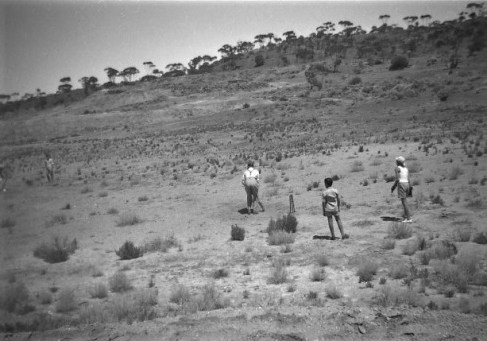 Playing cricket in 1949 at the Salvation Army Picnic on the side of Hannan Lake.