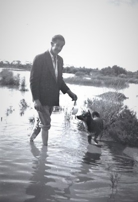 Dad (Milton Spain) and his dog Scotty, duck shooting, June 1951, at the Bullock Holes.