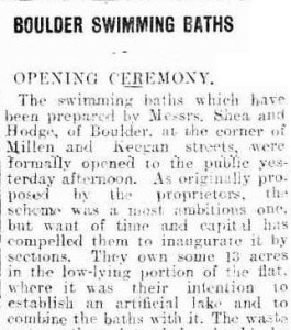 Kalgoorlie Miner 18 Nov 1909 : Opening of Boulder baths
