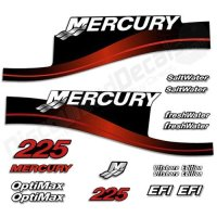 Mercury Outboard 225HP Decal Kit SaltWater OptiMax EFI Decals Stickers 225 HP Red