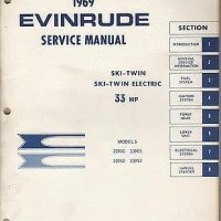 1969 EVINRUDE OUTBOARD MOTOR SKI-TWIN 33 HP SERVICE MANUAL USED
