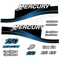 Mercury Outboard 150HP Decal Kit SaltWater OptiMax EFI Decals Stickers 150 HP Blue