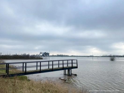 Hoogwater in de Nederrijn. Foto: Edwin Hagenouw