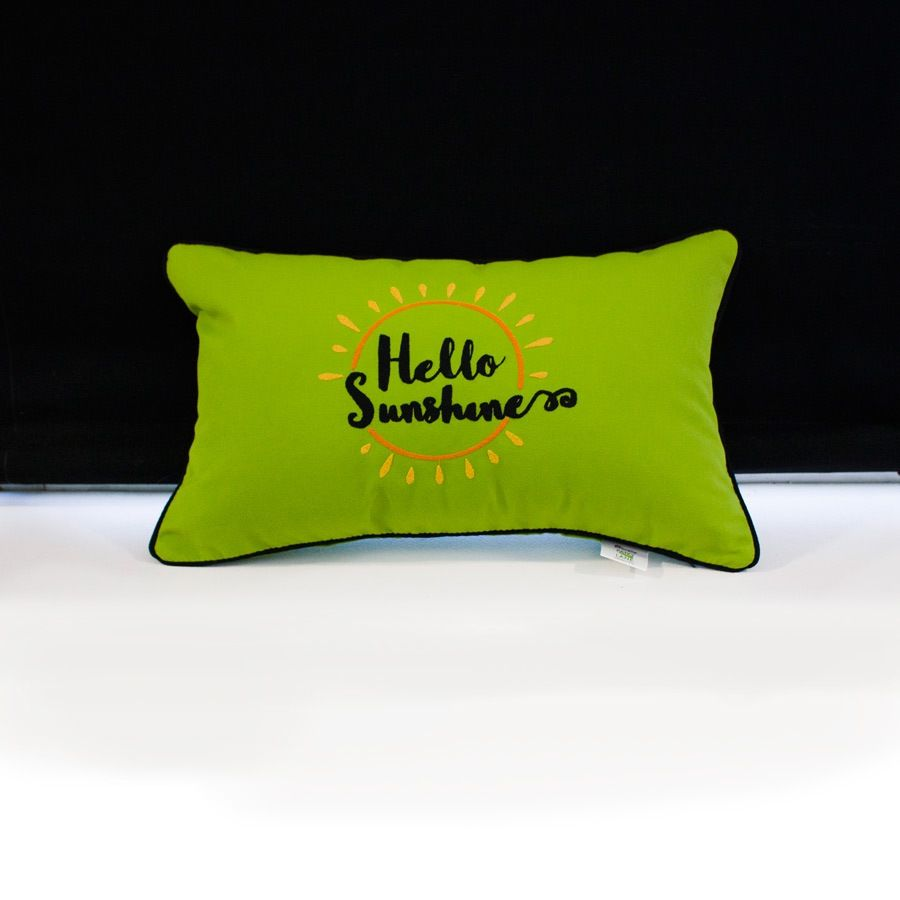 sunbrella monogrammed pillow 20x12 hello sunshine orange gold black on lime green with black welt