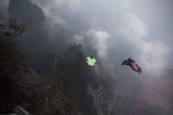Jhonathan Florez on a wingsuit flight in Norway © Kia Motors Colombia