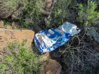 A dog food bag originating from Mexico, presumably used as a sturdy, but disposable bag for making the crossing. A clever idea.