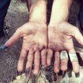 Worn hands