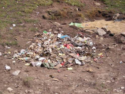 Trash that is courtesy of mass trekking himalaya
