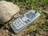 This was the most interesting thing I found — a cell phone. I presume this was used by a coyote to a contact someone in the US, and then disposed of.