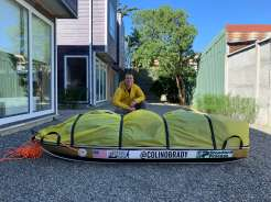 Colin packs his sled at home in Oregon before starting The Shackleton Expedition last November.