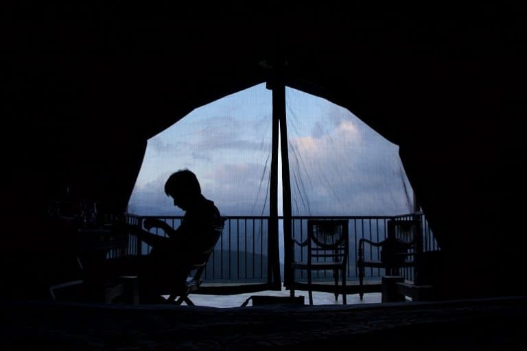 Ausblick aus einem Zelt
