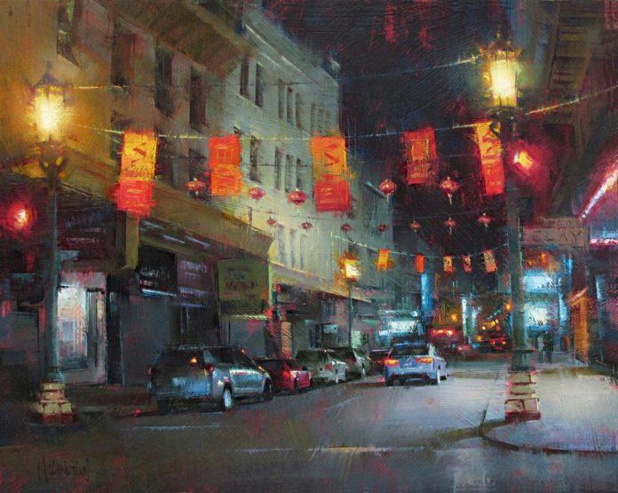 """Jennifer McChristian, """"Late Night Dim Sum,"""" oil, 16 x 20 in."""