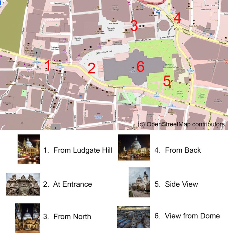 Map showing locations to photograph St. Paul's Cathedral