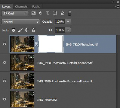 Photoshop layers showing a reveal all layer mask