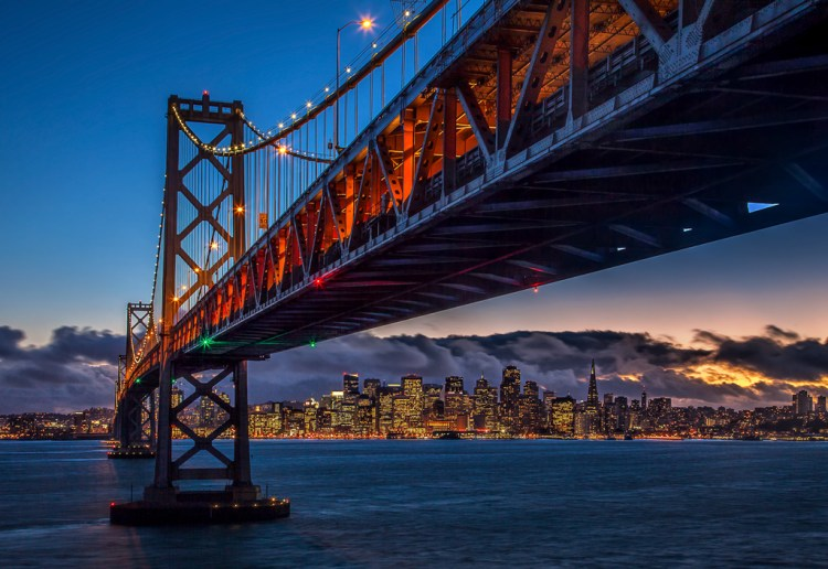 Shot of the Bay Bridge from Treasure Island toward San Francisco