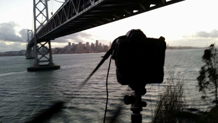 iPhone picture of camera set up for Bay Bridge photo