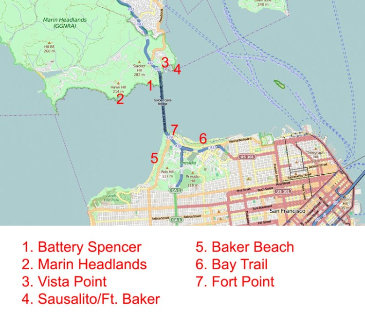Map showing best locations to photograph the Golden Gate Bridge