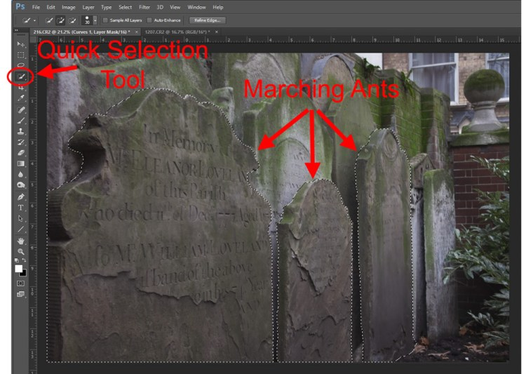 graphic showing a selection made for a curves adjustment layer