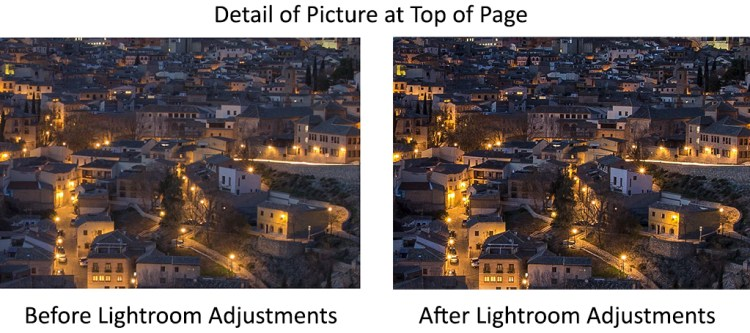 Detail of image before and after using Lightroom sharpening tools