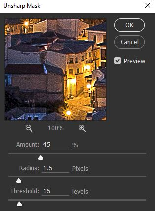 Dialog box for Unsharp Mask - a Photoshop sharpening tool