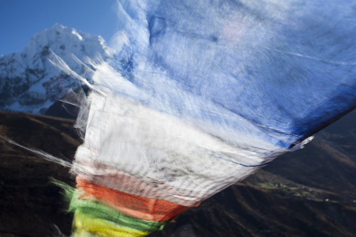 Flags waving in the wind, Nepal Himalayas