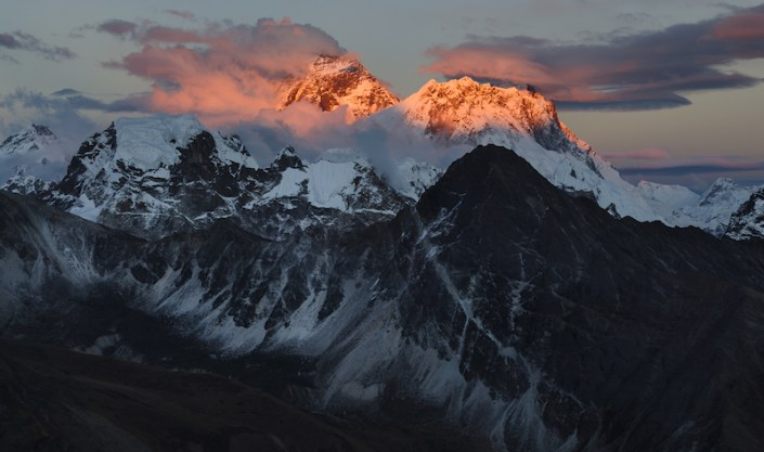 Mt. Everest lit up as the sun sets. Taken from Gokyo Ri