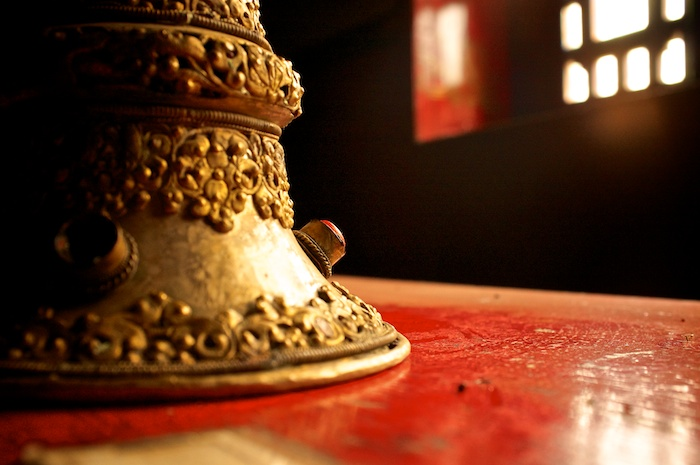 Tibetan horn (dungchen) in Sherpa Culture Museum, Namche Bazar, Nepal, Asia, Nepal & Mt. Everest Photo Workshop