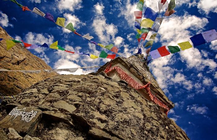 Tibetan prayer flags on stupa. Asia, Himalayas, Nepal, Nepal & Mt. Everest Photo Workshop, Mong
