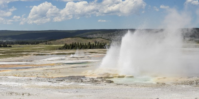 Daisy Geyser Erupting With Visitors Visible In The Distance A Cone