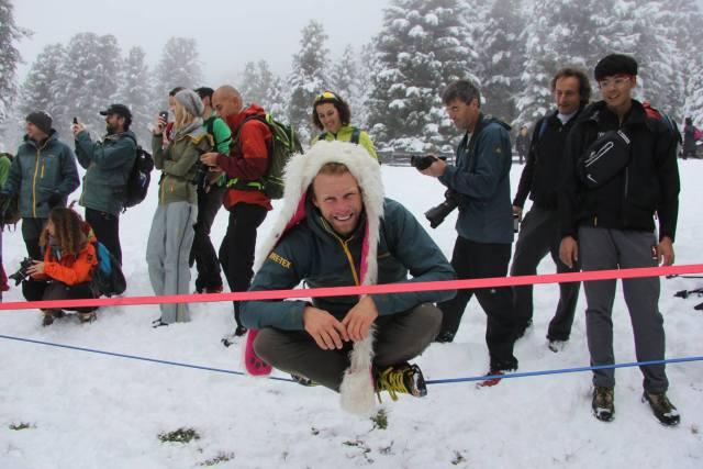 Die neue GORE-TEX-Jacke begeisterte auch Extremsportler (Slackline, Basejump) Andy Lewis