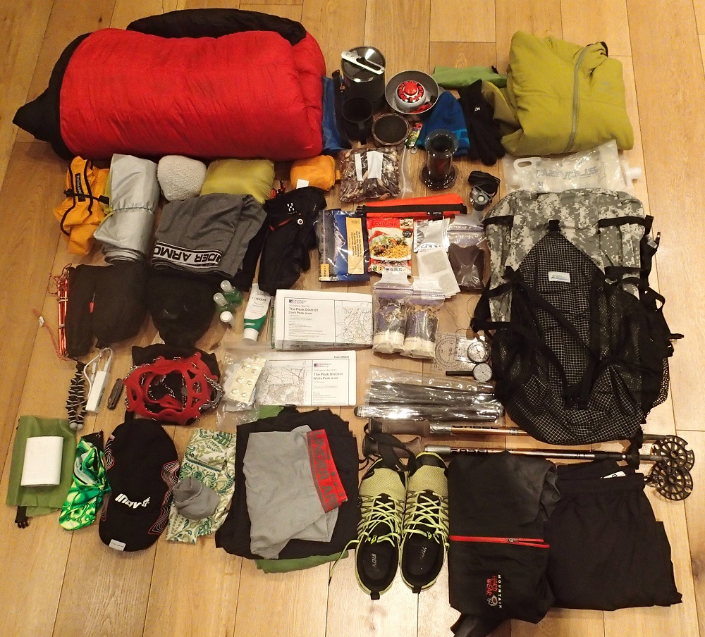 Weekend hiking gear ready to pack