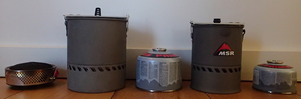 My MSR Reactor range with canisters to compare