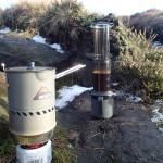 Coffee making with the Reactor on a frozen Peak District day