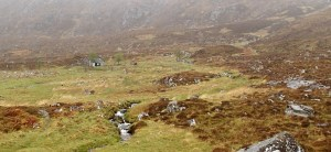 Leaving Shenavall bothy on a grey and grim morning