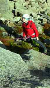 Climbing in the Cairngorms using the Ibex pants