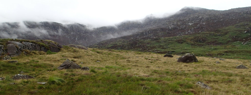 Cross country waling to reach the base of Snowdon and the climb