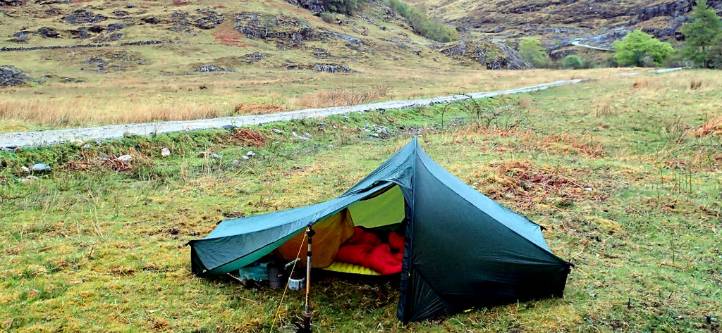 Setting a solo night camp near a road, that is in the middle of the Highland's backcountry
