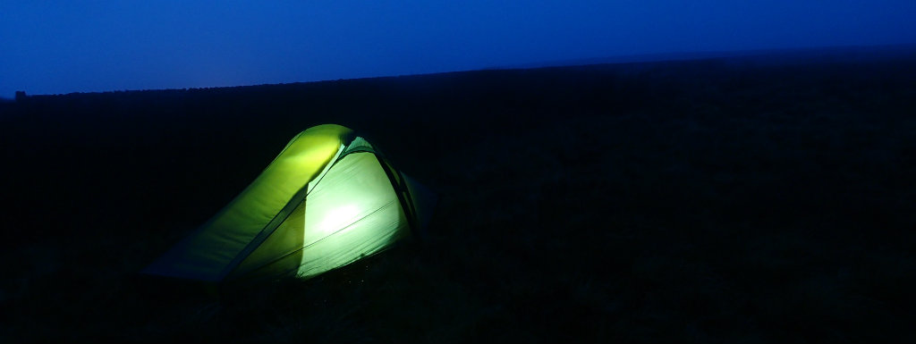 Night camp on Thornton Hill in gale force winds