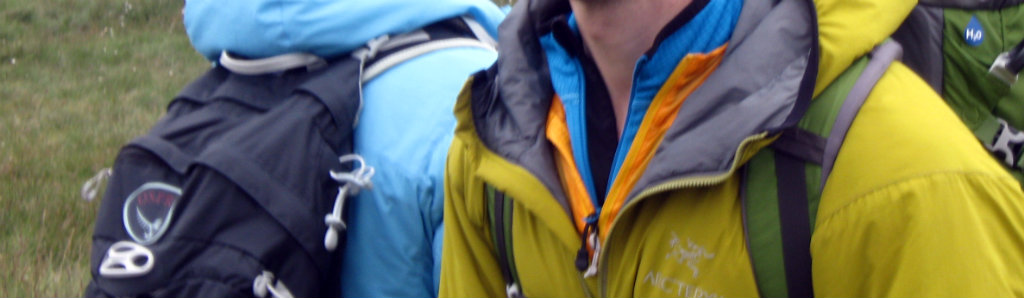 Using insulation right for maximum comfort: a synthetic insulation jacket over a wind shell while stopping for a break