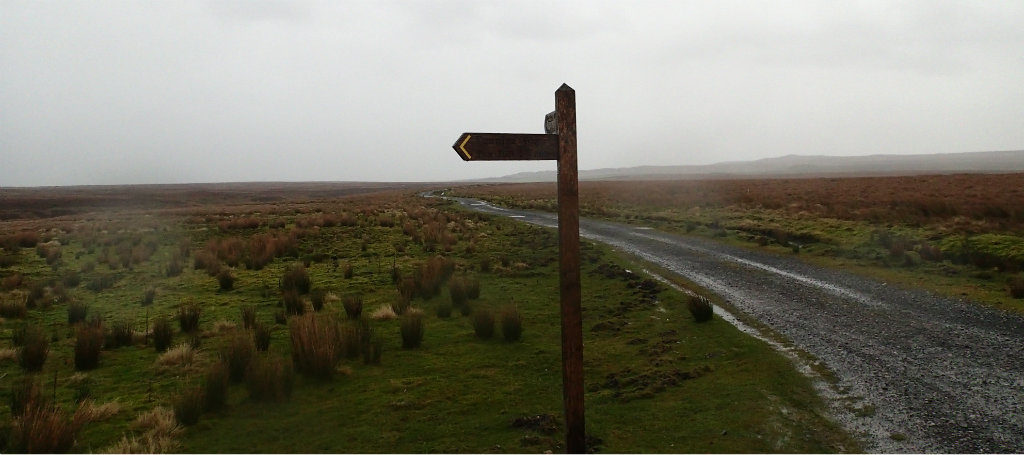 Horizontal rain, cold and miserable, on route to Sleightholme