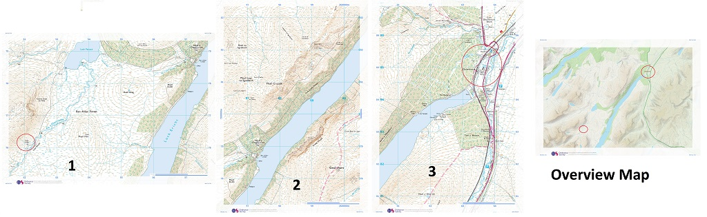 4 maps to show me the walk from Dalwhinnie to Culra Bothy and the area around