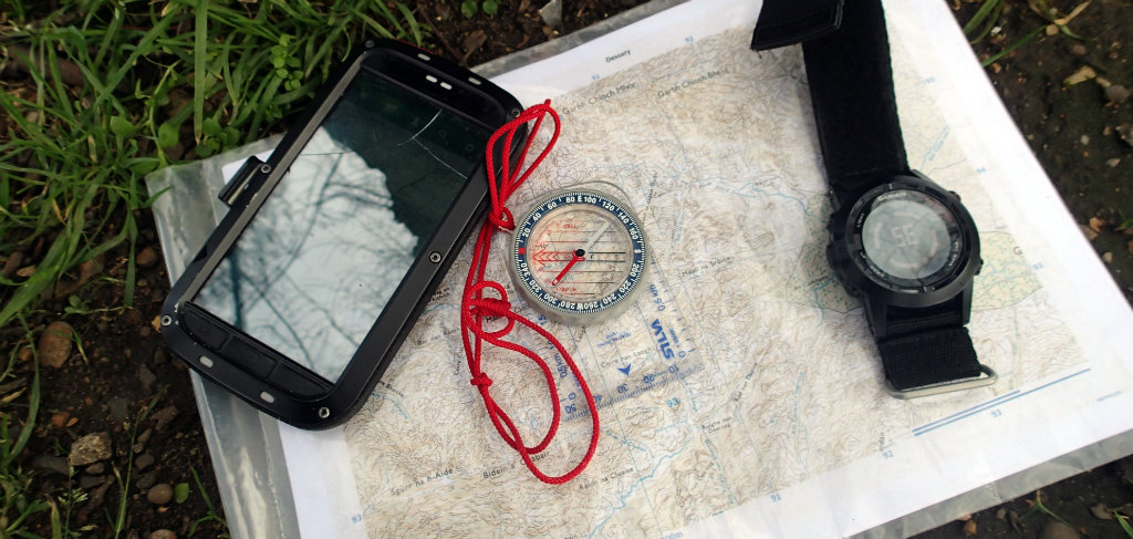 All I rcommend for navigation: compass, map, cellphone and GPS watch
