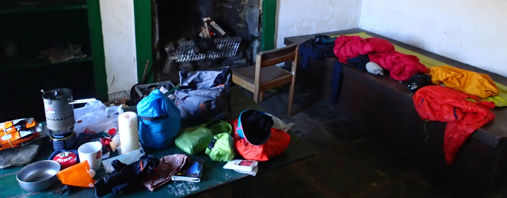 When a bothy becomes your house for the night, gear can be everywhere
