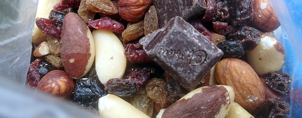 Nothing really beats the good trail mix for quick calories in