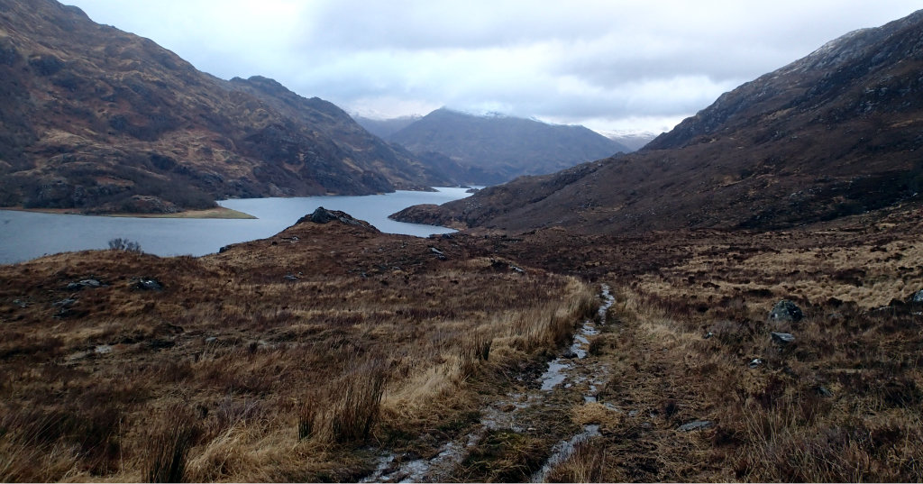 Kinloch Hourn on a grey morning - what wet conditions underfoot!