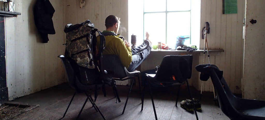 Lunching in a bothy