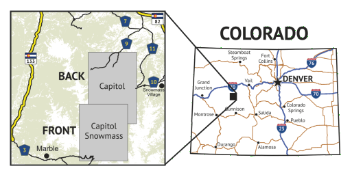 14ers Series Map 11 of 16 - Capitol, Snowmass location overview