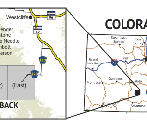 14ers Map Series 12 of 16 - Challenger, Crestone, Crestone Needle, Humboldt, Kit Carson location overview